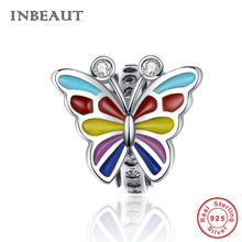 INBEAUT 100% Real 925 Sterling Silver Colorful Enamel Lovely Butterfly Beads Cute Flying Insect Charms fit Pandora Bracelet Gift(China)