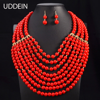 3 Color Nigerian Wedding African Beads Jewelry Sets Indian Online Shopping Statement Choker Necklace African Beads