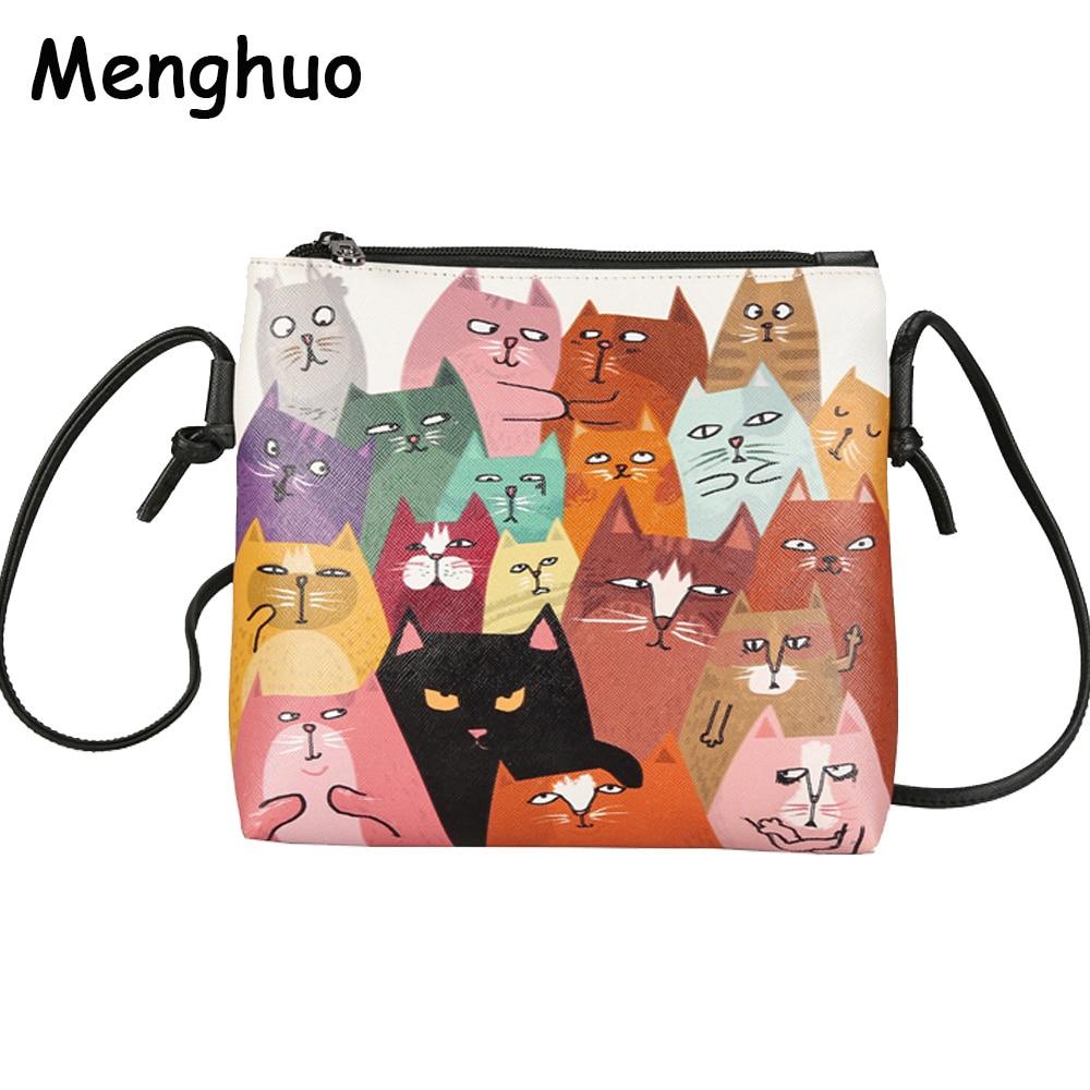 Menghuo 2017 Mini Bolsos de Las Mujeres de Cuero Lindo Gato Imprimir Messenger Bag Ladies Crossbody Bolsa de Dibujos Animados Monedero Del Embrague Bolsa Feminina