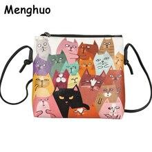 Menghuo 2017 Mini Leather Women Handbags Cute Cat Print Messenger Bag Ladies Crossbody Bag Cartoon Clutch Purse Bolsa Feminina