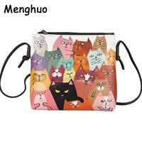 Menghuo 2017 Women Envelope Shoulder Clutch Bag Quality PU Cartoon Cat Printing Small Female Message Purse