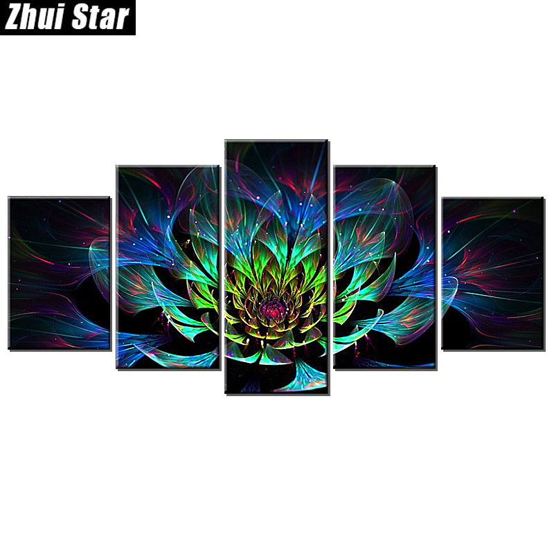 Zhui Star 5D DIY Full Square Diamond Painting Flower Multi-picture Combination Embroidery Cross Stitch Mosaic Decor gift