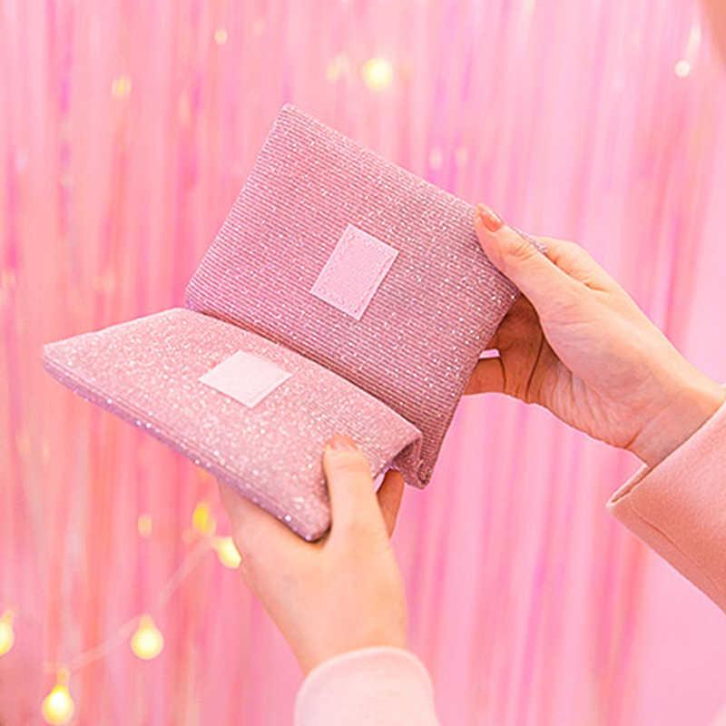 Emboridery della borsa del cuore per le ragazze paillettes in tessuto della moneta pures titolare della carta di credito di Stile Del Giappone del sacchetto dell'organizzatore del sacchetto della borsa mini borsa