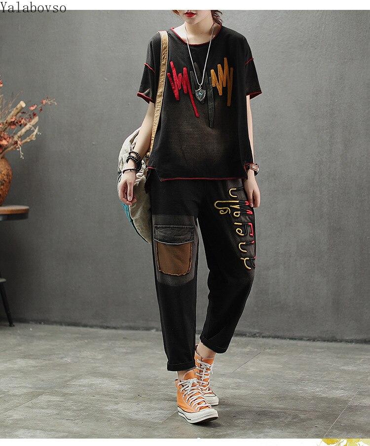 Coton t-shirt + pantalon décontracté Broderie costume pour femmes Patchwork O-cou Tees avec un pantalon ample Vintage ensemble femelle A0B2Z40