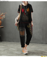 Cotton T shirts+pants Casual Embroidery suit for women Patchwork O Neck Tees with loose pants Vintage set female A0B2Z40