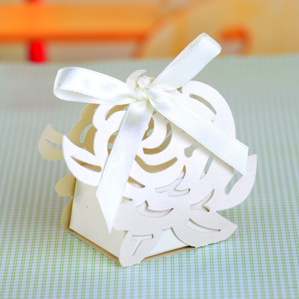 Laser Cut Favor Box Wedding Rose Laser Cut Candy Box with Ribbon ...