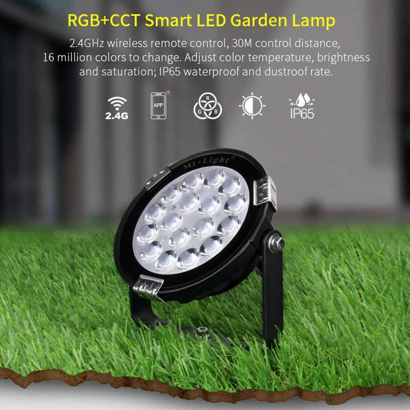 9W IP65 Waterproof RGB+CCT AC110V 220V smart LED garden light FUTC02 AC 86-265V 2.4G <font><b>FUT092</b></font> remote mi light image