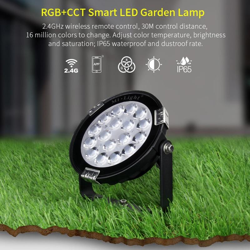 9W IP65 Waterproof RGB+CCT AC110V 220V smart LED garden light FUTC02 AC 86-265V 2.4G FUT092 remote mi light