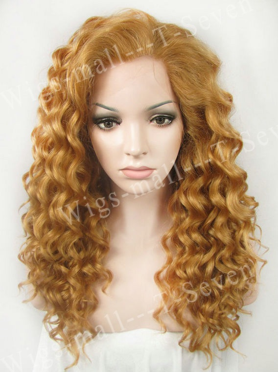 27HR Light Blonde Medium Length Rihanna Synthetic Wig Curly Lace Wigs For  Black Women free shipping 20inch c8ab9ee1e229