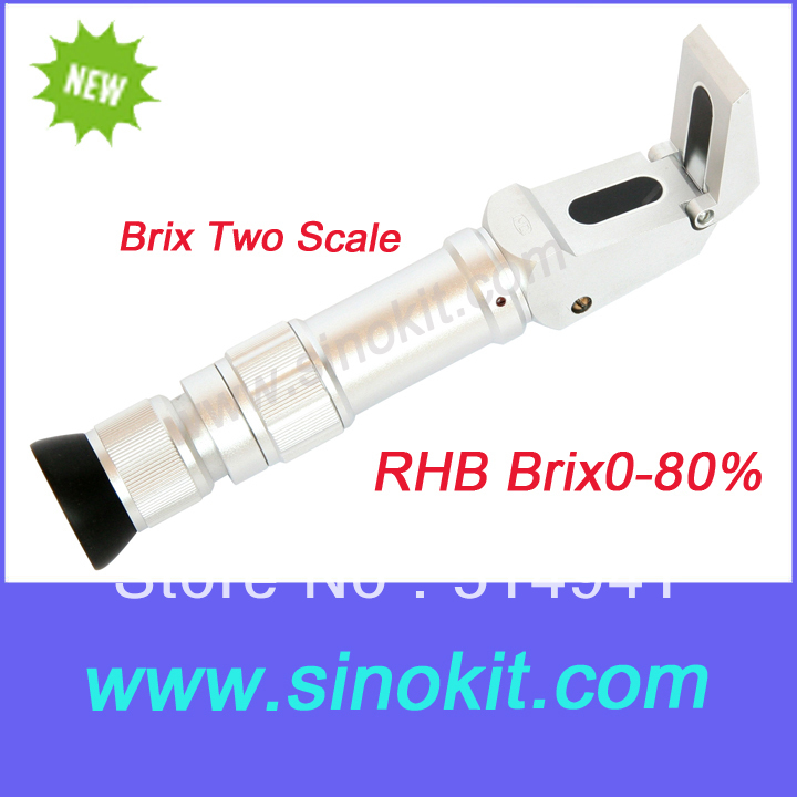 Free Shippping Two scale Brix refractometer RHB 0-80% ayhf beekeeper honey refractometer 58 90% brix sugar 38 43 baume 12 27% water wet rhb 90atc
