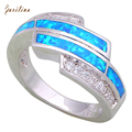 Latest Design Women's rings White Cubic Zirconia blue Fire Opal 925 Sterling Silver Overlay size 5 6 7 8 9 10 R477