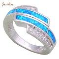 Mais recente Projeto anéis de Zircônia Cúbica de Branco das Mulheres blue Fire Opal 925 Sobreposição De Prata tamanho 5 6 7 8 9 10 R477