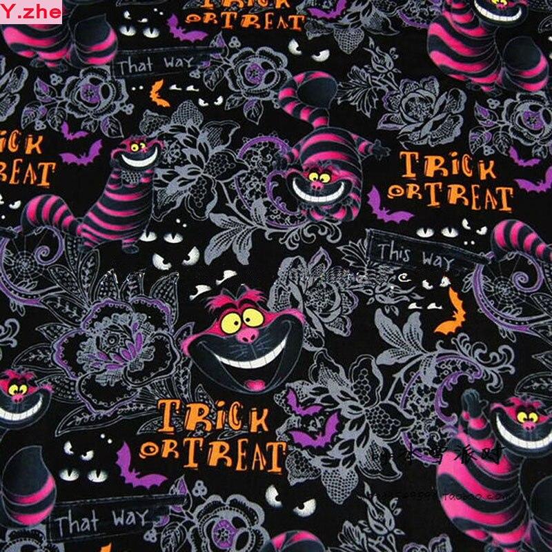 120 см Ширина Cat Ткань 100% хлопок Ткань telas Лоскутная кошка Алиса в стране чудес печатных Ткань Вышивание Материал DIY Костюмы