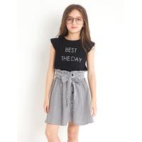 Thời Trang mới Childrens Phù Hợp Với Twinset In Ấn Váy Châu Âu Con Gió Cô Gái Trẻ Mùa Hè Quần Áo Trang Phục Đặt T-shirt + ăn mặc