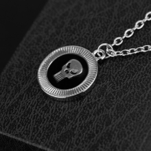 Punisher Round Black Dark Knight Skull Logo Pendant Necklace Unisex Fashion Jewelry