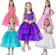 2016 новый летний девочка свадебное платье невесты органзы meninas vestir детей 3D лепесток розы Pattren платье детской одежды