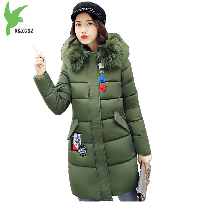 New Fashion Women Winter Down Cotton Long Coat Hooded Fur Collar Thick Casual Warm Female Costume Plus Size Slim Coat OKXGNZ 946 new winter women down cotton coats fashion hooded fur collar long jackets plus size thick warm down cotton outerwear okxgnz 812