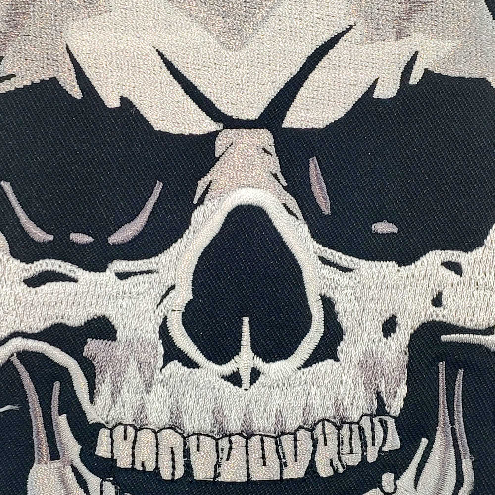 28cm skull bones patch embroidery iron on patch for clothing vest application cool biker stickers clothes
