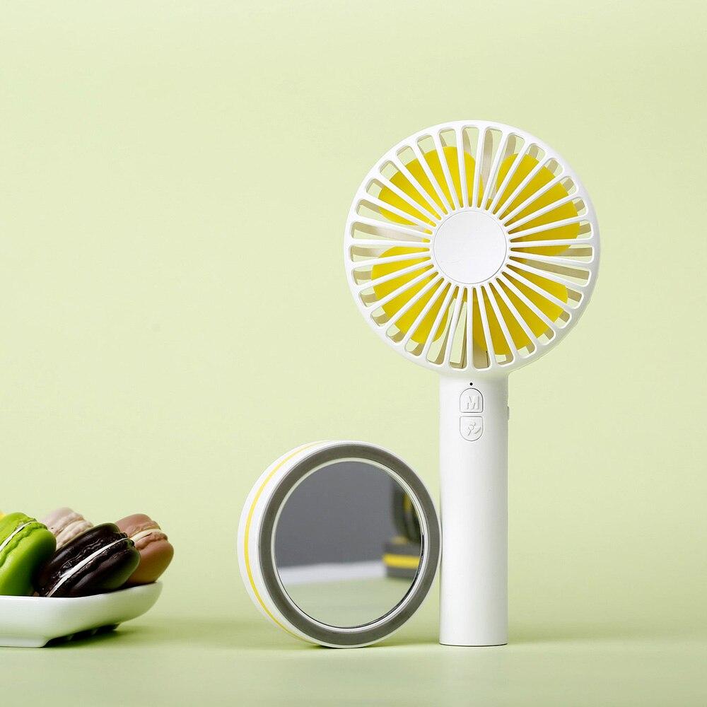 New Candy Colors Macaron Fan Portable Rechargeable Handheld Fan USB Mini Desktop Fan With Mirror Summer Fan