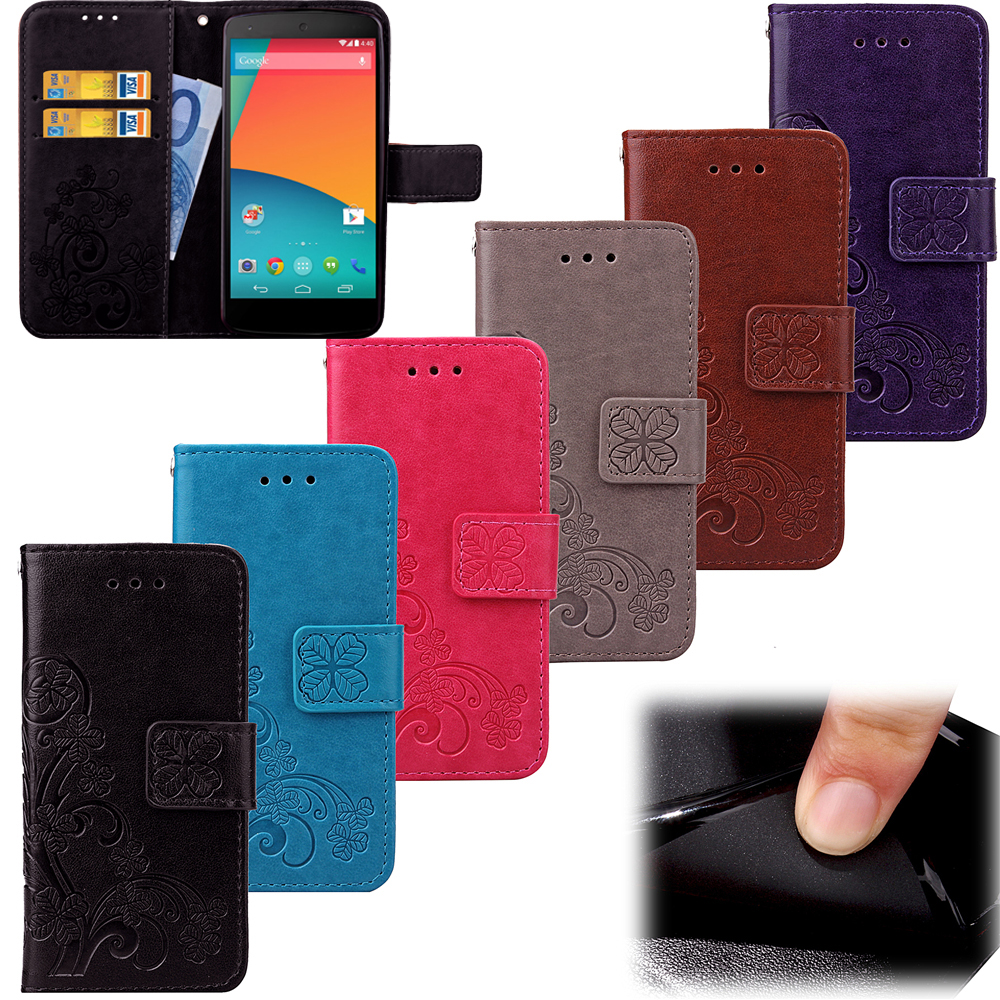 For LG Nexus 5 Case Leather 3D Card Holder Stand Magnetic Flip Clover Wallet Cover For LG Google Nexus5 D820 D821 Phone Case