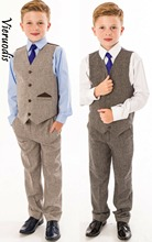 Boys 2 pcs  Suits Boys Wedding Suit Tweed Waistcoat Suit Page Boy Baby Formal Party 5cm page 2
