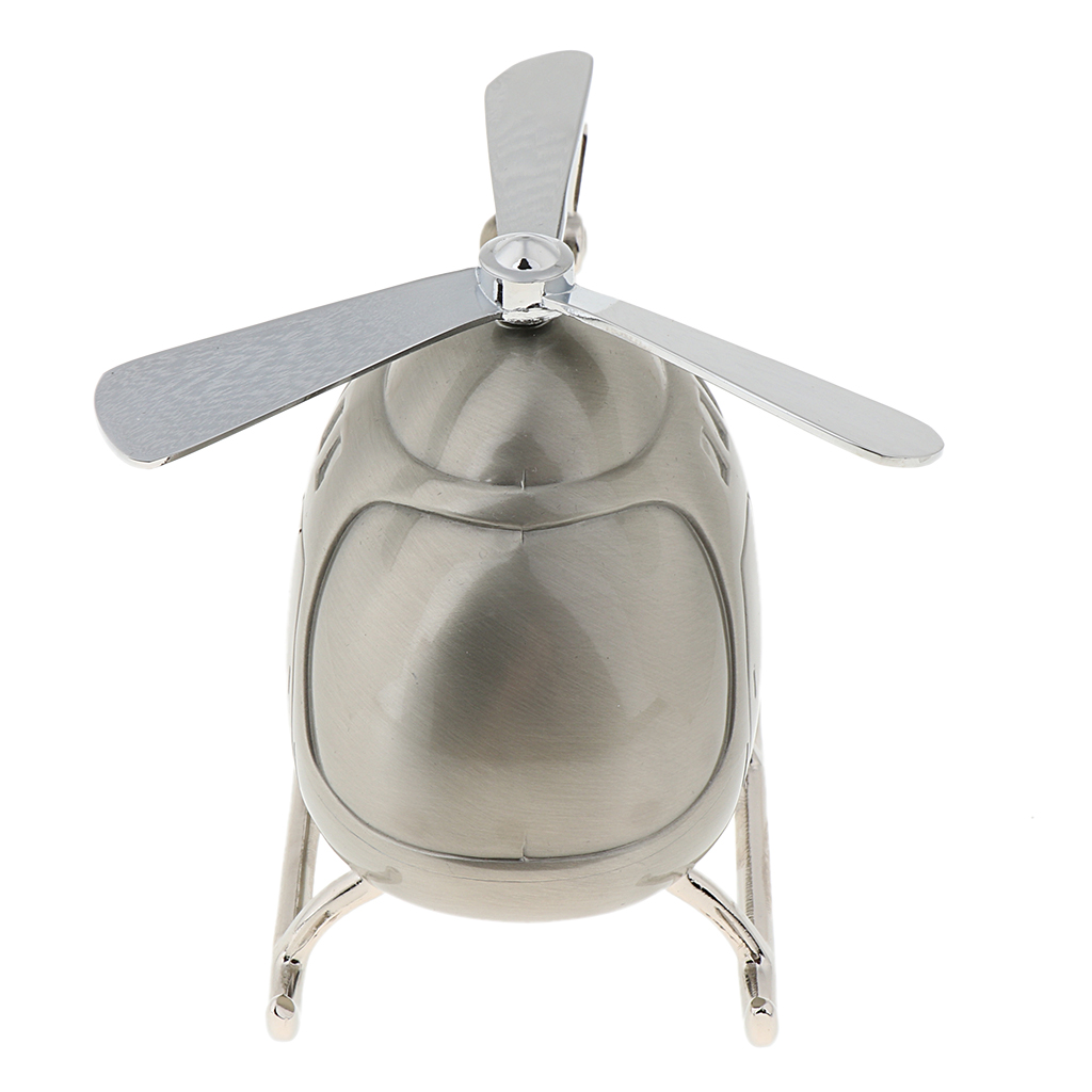 Silver Tone Lovely Cartoon Helicopter Piggy Bank Metal Money Box Coins Saving Box for Kids Gifts, Home Decor Ornaments