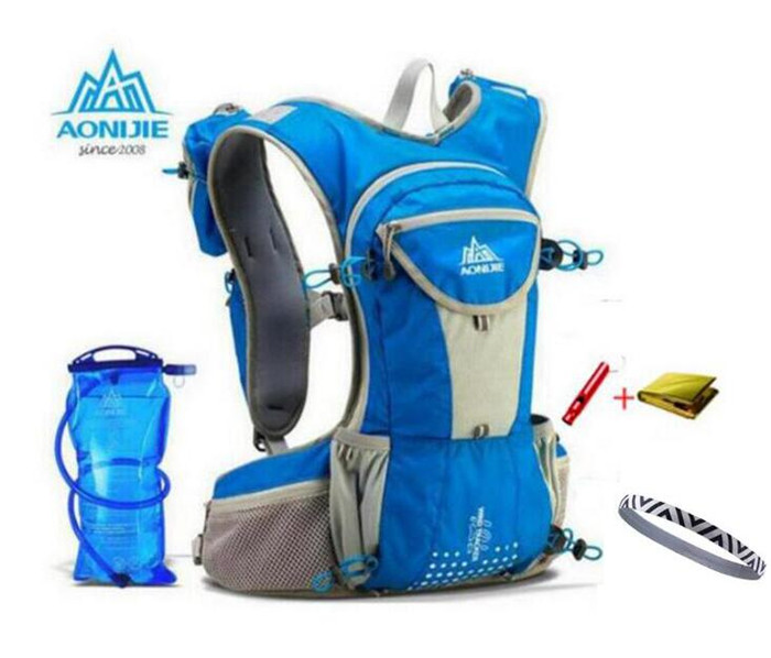 AONIJIE Running Nylon Backpack 12L Outdoor Lightweight Hydration Water Pack Sport Bag Climbing Cycling Hiking + 2L Water Bag 12l cycling road backpack bike mountaineering rucksack water proof nylon running outdoor ultralight travel water bag helmet bag