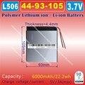 [L506] 3.7 V, 6000 mAH, [4493105] Polímero de iones de litio/batería Li-ion para tablet pc, banco de la energía, GPS, altavoz, pipo, P85, VI40, A86