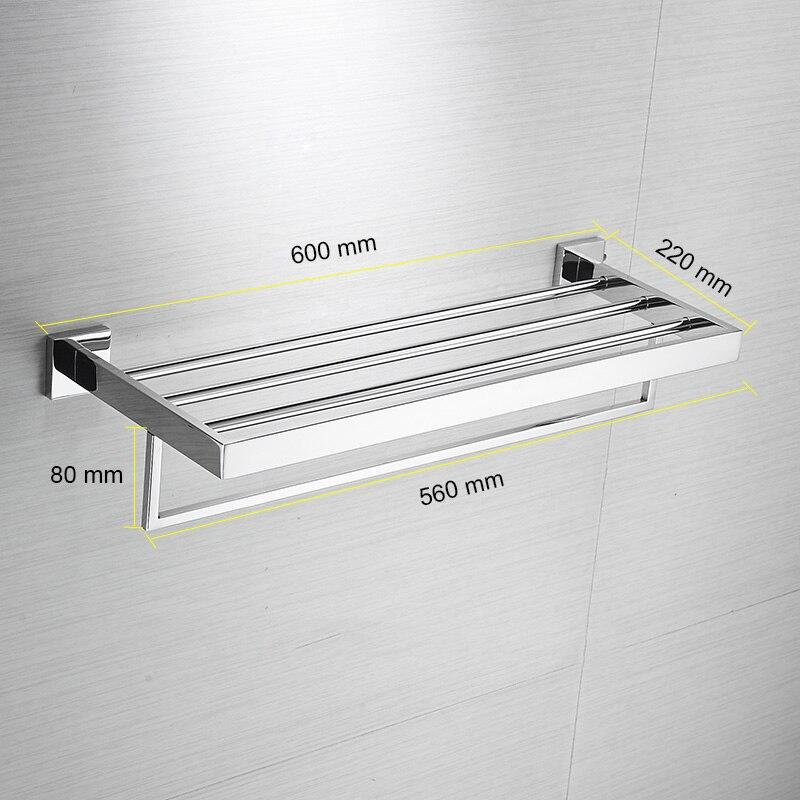 Bathroom Square Bath Towel Rack Stainless Steel Mirror Polishing Chrome Quality Wall Mounted Towel Rail Holder Toilet Bar