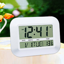 Sale Mute Alarm Multifunction White /Silver Digital LCD Lazy Mute Desk Alarm Wall  Indoor Clock Thermometer Calendar For Bedroom