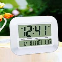 Mute Alarm Multifunctionele Wit/Zilver Digitale LCD Lui Mute Bureau Alarm Muur Indoor Klok Thermometer Kalender Voor Slaapkamer
