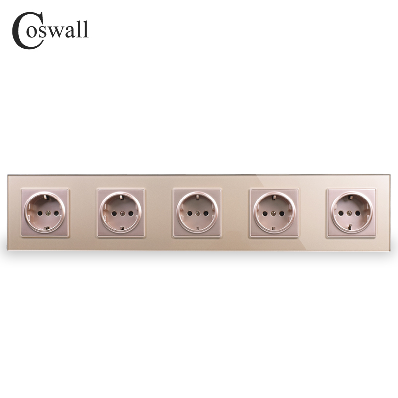 COSWALL Wall Crystal Glass Panel Gold 5 Way Power Socket Plug Grounded 16A EU Standard Electrical