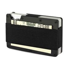 купить Artmi Carbon Fiber Credit Card Holder Men Wallet RFID Blocking Anti Scan Metal Wallet Money Cash Clip дешево