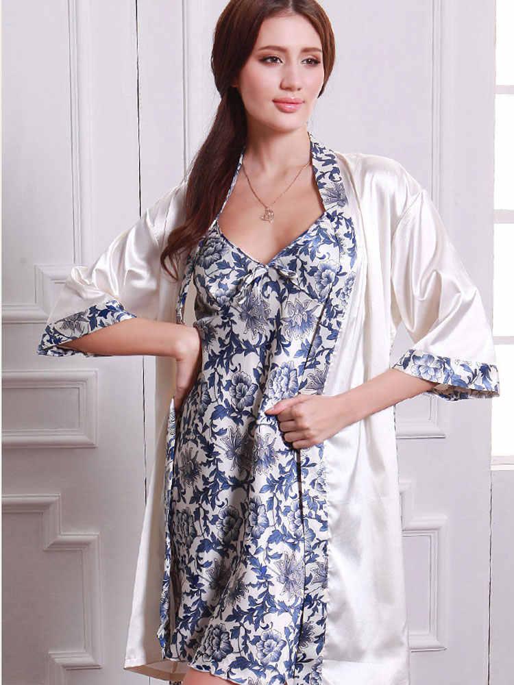 Le Donne in gravidanza Camicia Da Notte Accappatoio Vintage Stampa Floreale Nuovo Set 2 Pezzo di Sonno Abiti Maternità Tuniche Veste Femme
