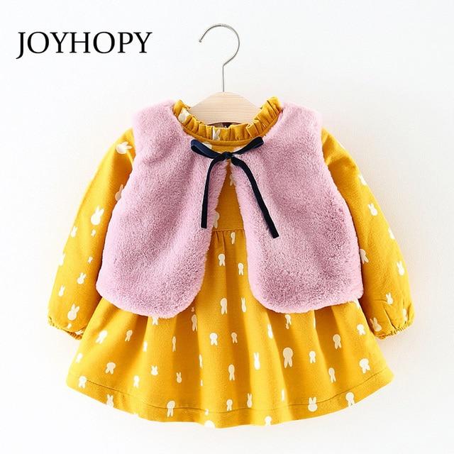 19f525503 JOYHOPY Baby Girl clothing Sets kids 2PCS Faux Fur Waist coat+Dress ...
