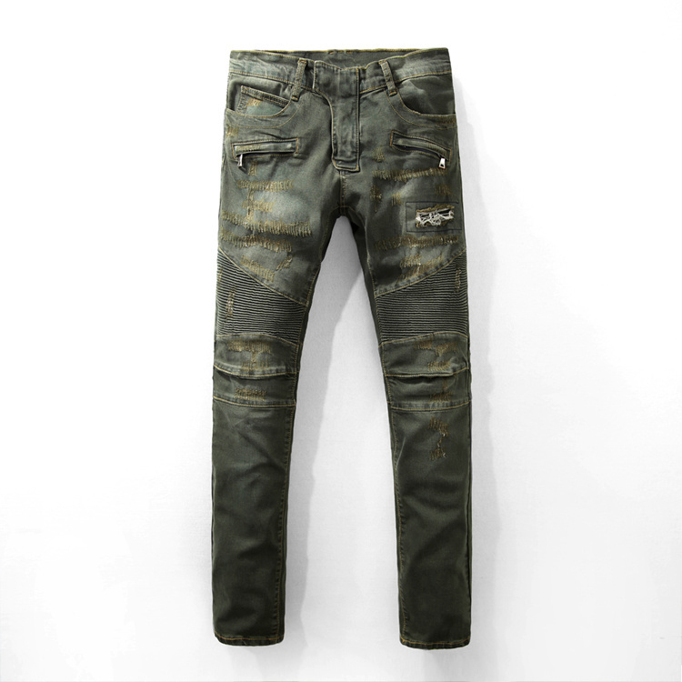 ФОТО 2017 High Quality Ripped Jeans Hot Pants Slim Stretch Mens Jeans Product Biker Jeans Famous Brand B Men Motorcycle Jeans