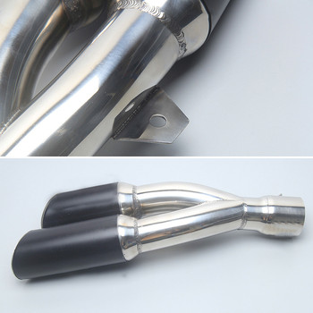 Universal 38-51mm Modified Stainless Steel Motorcycle Muffler Exhaust Tail Pipe Double Twin Tip