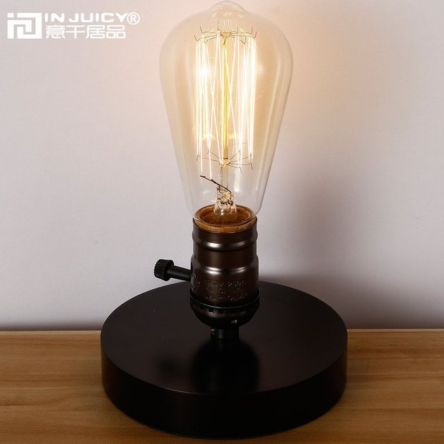 edison table lamp vintage home lighting. Vintage Industrial Wood Edison Bulb E27 LED Table Lamp Wooden Reading Study Bedroom Bedside Home Lighting