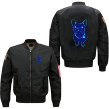 2017 latest design hot selling men's bomber flight jacket Animation glowing little poppy printing front zipper-up pilot jacket