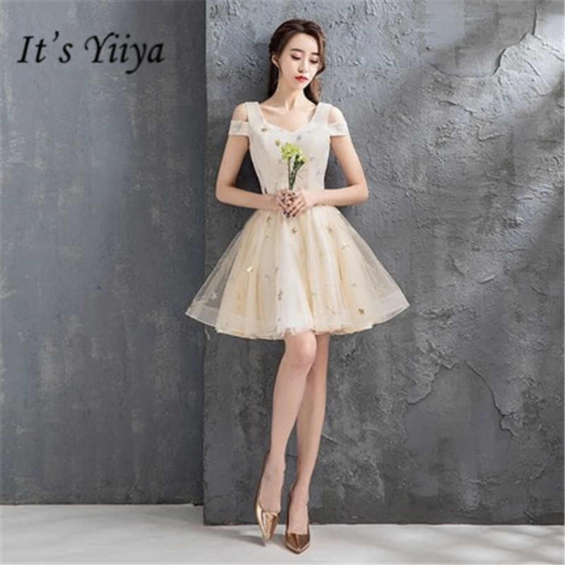 It's YiiYa New Many Styles   Bridesmaid     Dresses   Sexy Off Shoulder knee-length Bridemaid Gown DV040