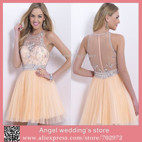 Simple Wedding Dress Hong Kong: A Line Scoop See Through Party Dress Organza Beaded Mini
