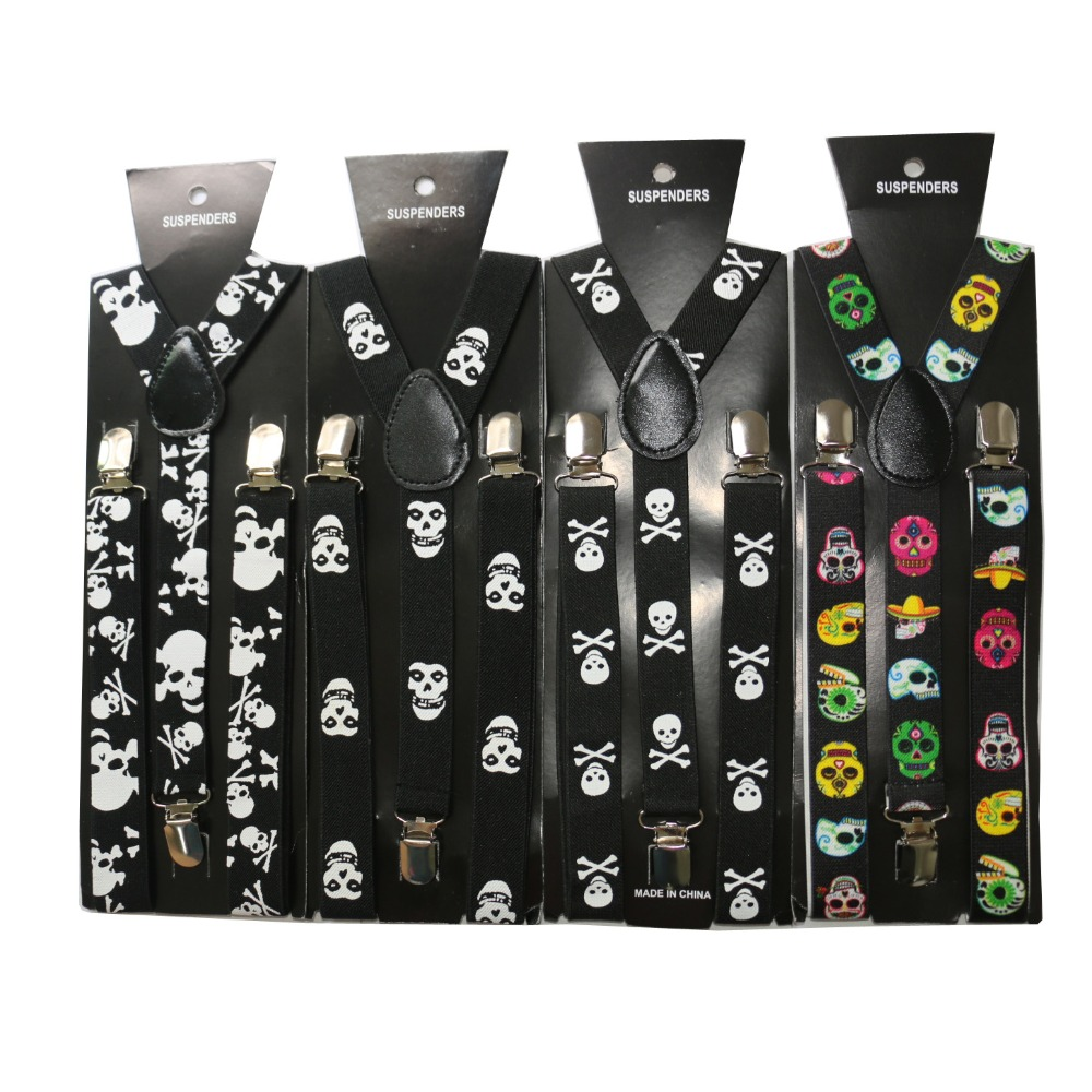 HUOBAO New Hip Hop 2.5cm Wide Skull Suspender For Mens Womens