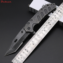 Dcbear New Pocket Tactical Folding Knife 440C Steel Blade Stone Wash Surface Knife Cryo Hinderer Design Survival Hunting Knives