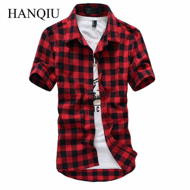 Red And Black Plaid Shirt Men Shirts 2015 New Summer Style Fashion Chemise Homme Mens Dress Shirts Short Sleeve Shirt Men Cheap Рубашка