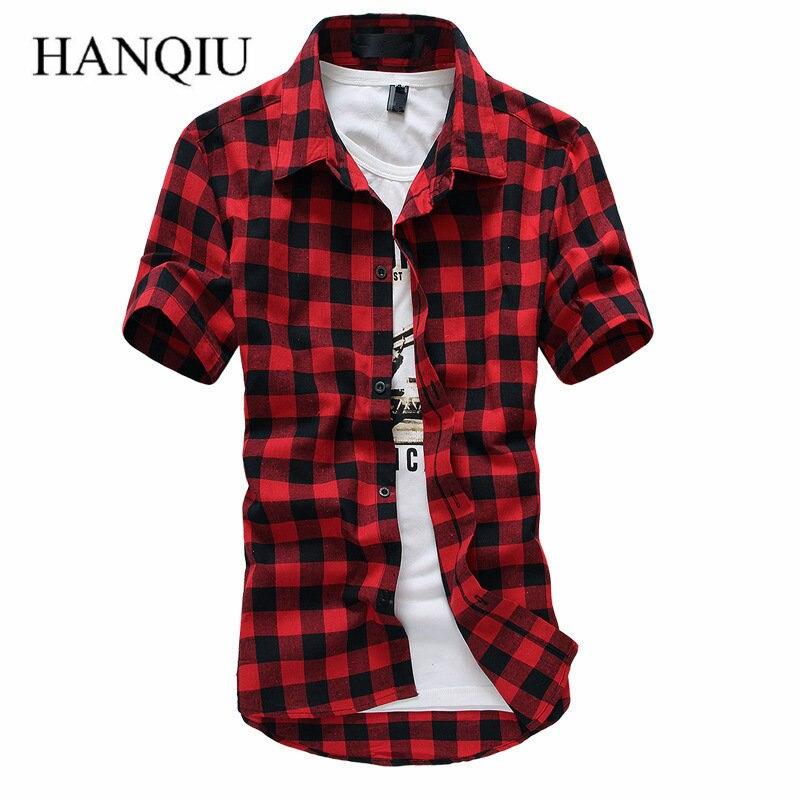 8cc2739a3c052 Chemise à carreaux rouge et noir hommes chemises 2019 nouveau été printemps  mode Chemise Homme chemises habillées à manches courtes Chemise hommes dans  ...