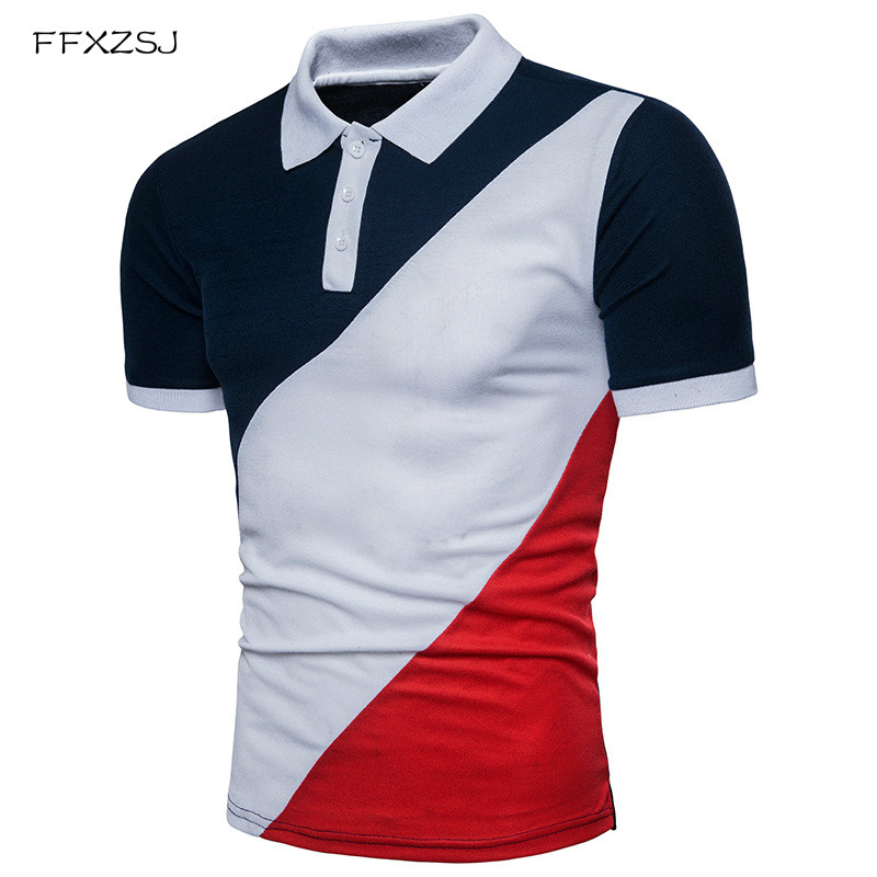 FFXZSJ 2018 New Men POLO Shirt Fashion Patchwork Polo Homme Slim Fit - Herrkläder