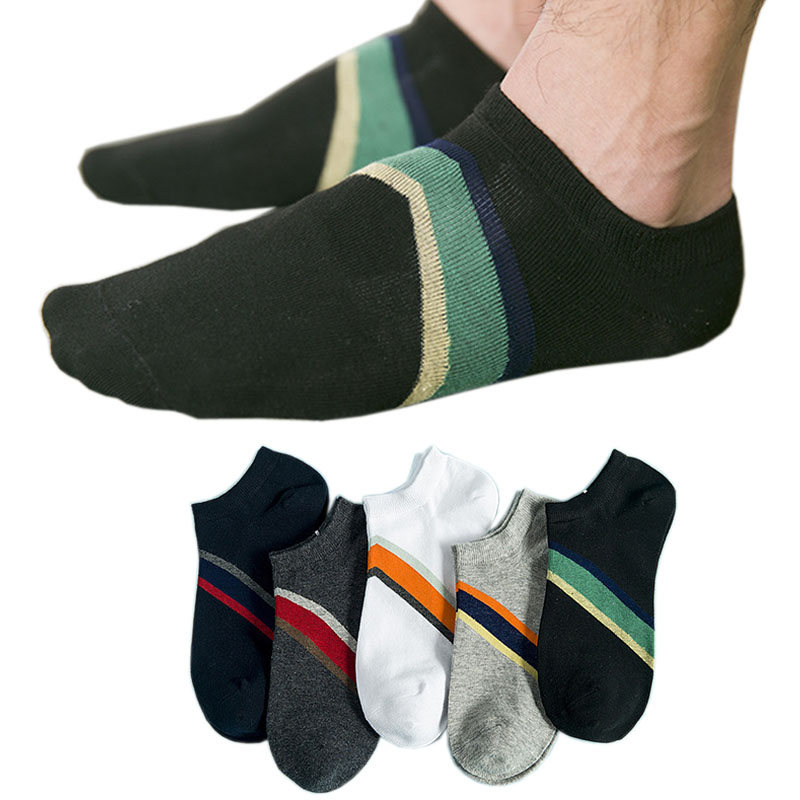 5 Pairs/ lot New Mens Socks Happy Cotton Stripe Low Cut Short Socks Men Invisible Breathable Casual Business Soft Socks Dress