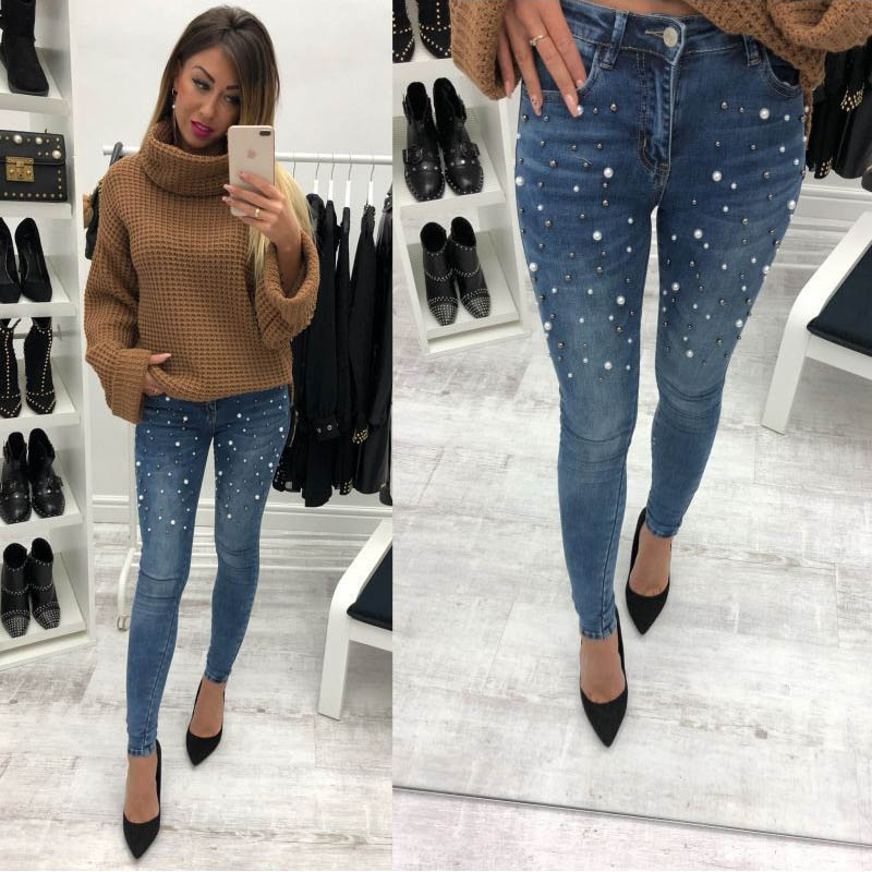 Skinny Jeans Women Pencil Pants Embroidered Flares Mid Waist Casual Slim Fit Lady Fashion Jeans