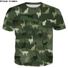 где купить PLstar Cosmos Drop shipping 2019 New Fashion Men T-shirt Cats Camouflage animal Funny 3d Print Unisex summer Harajuku t shirt по лучшей цене