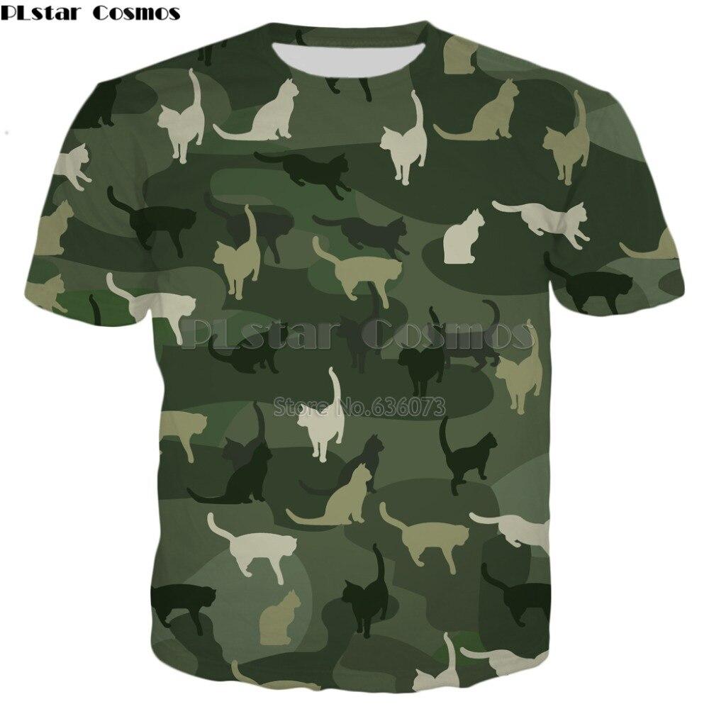 PLstar Cosmos transporte Da Gota 2019 Novos Homens de Moda T-shirt Gatos Camuflagem animal Engraçado 3d Imprimir Unisex verão Harajuku t camisa